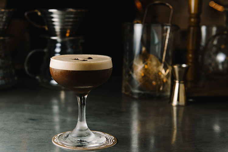 Coffee Infused Cocktail On Bar